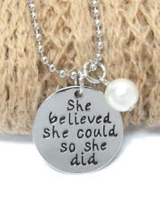 She Belived She Could So She Did Round Disc Ball Chain Pearl Charm Necklace