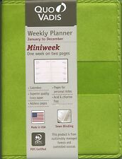 Quo Vadis Miniweek Planner 2017 Pocket Calendar Texas Bamboo Green Cover (441/8)