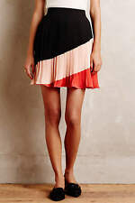 ANTHROPOLOGIE Maeve NWT Sian Mini Skirt Pleated Black Red Pink Sz L $118