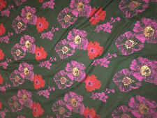Faux Silk BROCADE Fabric Red & Purple Floral 1/4 yard remnant