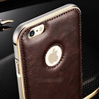 Luxury Leather Aluminum Metal Bumper Frame Case Cover for iPhone 5 5S 6S Plus