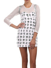 TIALS This Is A Love Song Bling White Black Hologram Stretch Mini Dress S M L