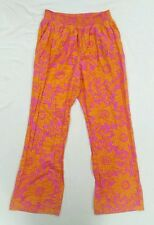 Lilka Anthropologie Pink Orange Flowered Boho Wide Leg Lounge Pants Large