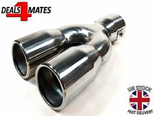 UNIVERSAL TWIN DOUBLE SPORT CHROME EXHAUST PIPE TRIM TIP TAIL STAINLESS STEEL