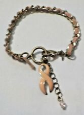 "7 1/4"" Pink Leather & Silver Tone Breast Cancer Awareness Bracelet - Avon"