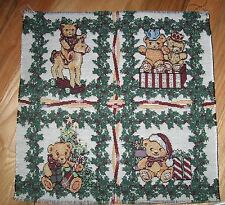 "1 Cute ""Teddy Bear Christmas Tapestry"" Pillow Top Fabric Panel"
