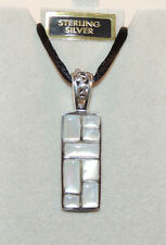 Sterling Silver and Mother of Pearl Rectangle Pendant  (9686)