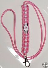 Breast Cancer Awareness Pink Paracord Lanyard with a Pink Ribbon Emblem