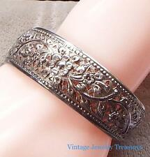 Antique Vintage Sterling Silver Filigree Cuff Bracelet Signed DS
