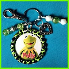 Personalized KERMIT MUPPETS Bottle Cap Name Necklace, Jewelry, Zipper Pull Green