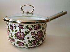 Beautiful Unique HTF Tivoli Purple Violets Enamel 2 Qt Sauce Pan Pot W/Glass Lid