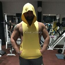 Sexy Men Racerback Hoodie Stringer Gym Muscle Bodybuilding Singlet Tank Top VEST