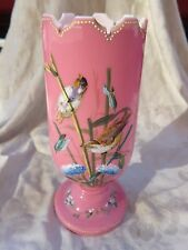 ANTIQUE VICTORIAN HAND PAINTED ENAMEL VIOLET FLORAL BIRD ART GLASS PINK VASE