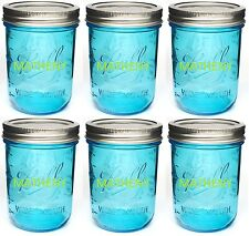 6 Ball Mason Wide Mouth Blue Canning Jars Pint ~ 16oz w/Lids & Bands NEW