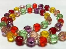 Rainbow crystal Necklace TUTTI FRUTTI Harlequin Fire Polished Czech glass beads