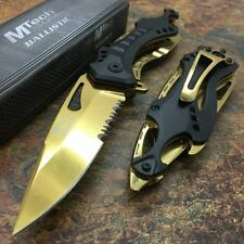 M-Tech Spring Assisted BLACK GOLD Aluminum Tactical Rescue Pocket Knife!