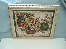 Vintage home interiors floral print picture in white frame Claudessa 1798 cw