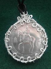 1953 HAND CRAFTED BRITISH 5 SHILLINGS WIRE WRAPPED COIN PENDANT NECKLACE!