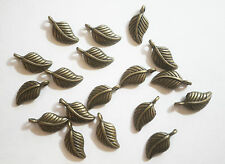 25 Metal Antique Bronze Leaf Charms - 15mm x 7.5mm