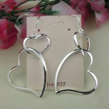 Silver plated Big Hollow Double Heart Ring Dangle Hoop Earrings