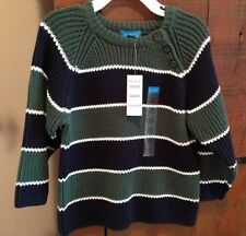 The Children's Place Sweater Toddler 24m Knit Navy Blue & Green Striped NWT New