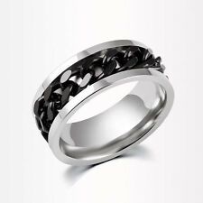 Rotatable Chain Silver/Black/Gold Stainless Steel Men's Wedding Band Sz7-11 Ring