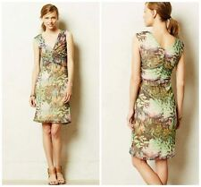 Anthropologie Weston Wear Ruched Floral Print Pull-On Amisi Mesh Dress S 4 6
