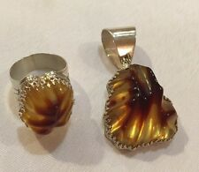 DTR Jay King Amber Big Sterling Ring Size 11 , Matching Pendant