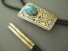 """PETER NELSON turquoise sterling silver bolo tie 3 1/4"""" x 2"""""""