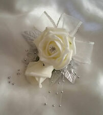 Wedding Pin On Corsage Ivory & Silver Artificial Roses Silver Ball Spray Ribbon