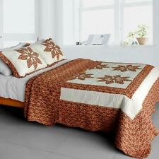 3 PC Maple Leaf 100% Cotton Vermicelli Queen Quilt Shams red tan paisley country