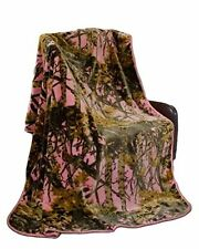 PINK CAMO BLANKET HUNTER SUPER SOFT FAUX FUR COLLECTION QUEEN HEAVY WEIGHT