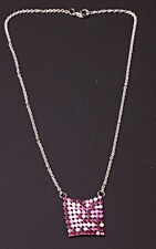 SASSY SILVER TONE NECKLACE CHIC SPARKLY THULIAN PINK 'HAUBERK' DETAIL (ZX24)