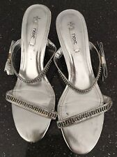 Ladies silver strappy sandals with diamonte and bow detail size 8 NEXT
