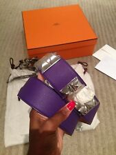 AUTH NEW HERMES COLLIER DE CHIEN CDC MEDOR BELT CROCUS ANEMONE EPSOM PHW 85 BOX