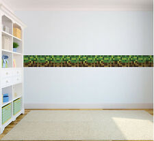 Green Brown Pixels Wallpaper Border Self Adhesive Children's Bedroom Stickers