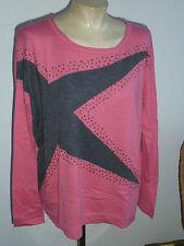 Oversized PULLOVER - pink - Stern grau - Nieten - * CLAIRE.dk * - Gr. 38