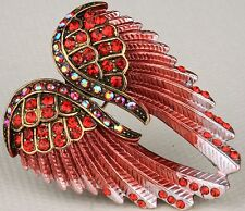 Angel Wings Pin Brooch Pendant Charm Crystal Rhinestone Bling Jewelry Red ZD01