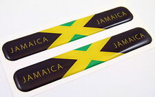 "Jamaica Flag Domed Decal Emblem Resin car stickers 5""x 0.82"" 2pc."