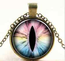 Vintage Eyeball Cabochon bronze Glass Chain Pendant Necklace  AA-396