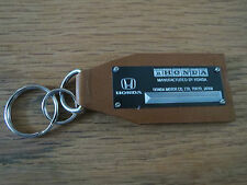 Vintage Honda Data Plate Leather Keychain Civic Accord S2000 Del Sol Prelude