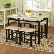 5 Piece Dining Room Table Kitchen Set Four 4 Chairs Light Wood Dark Metal Frame