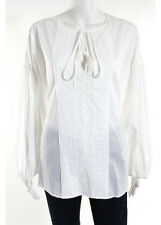 Givenchy White Long Sleeve Crew Neck Pleated Front Cotton Blouse Size Italian 42