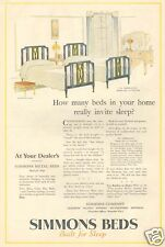 antique SIMMONS BED Sheraton TWIN Metal Bed Design 1967 Furniture Bedroom ART AD