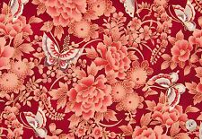 Fabric #2350 Asian Butterflies Floral on Red, Metallic Quilt Gate Sold by 1/2 Yd