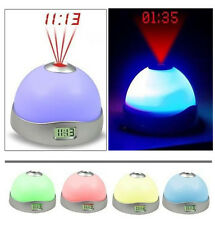 LED 7 Color-Change Sky Star Light Time Projector Alarm Table Clock Home Party