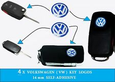 4x Volkswagen VW Emblem Logo Blue 14mm Key Fob Decal  Remote Replacement 4 logos