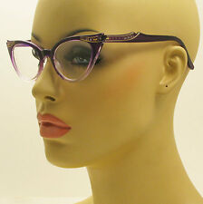 Vintage Style Clear Lens Gradient Frame Cat Eye Purple Glasses Crystals Stones