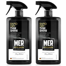 2 x Mer Tyre Shine Rapid Dry Tire Dressing Rubber Cleaner Polish Restorer Spray