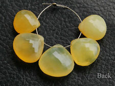 Natural Yellow Opal Faceted Heart Briolette Semi Precious Gemstone Beads 10-13mm